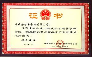 省龙头企业证书